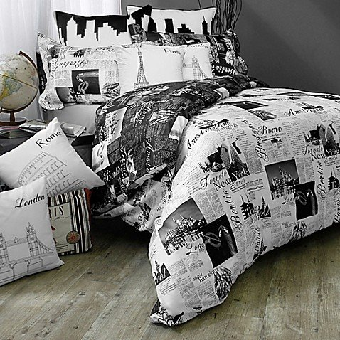 Bed Lam Passport London and Paris Reversible Twin Duvet Cover Set in Black/White (Covers Duvet Paris)
