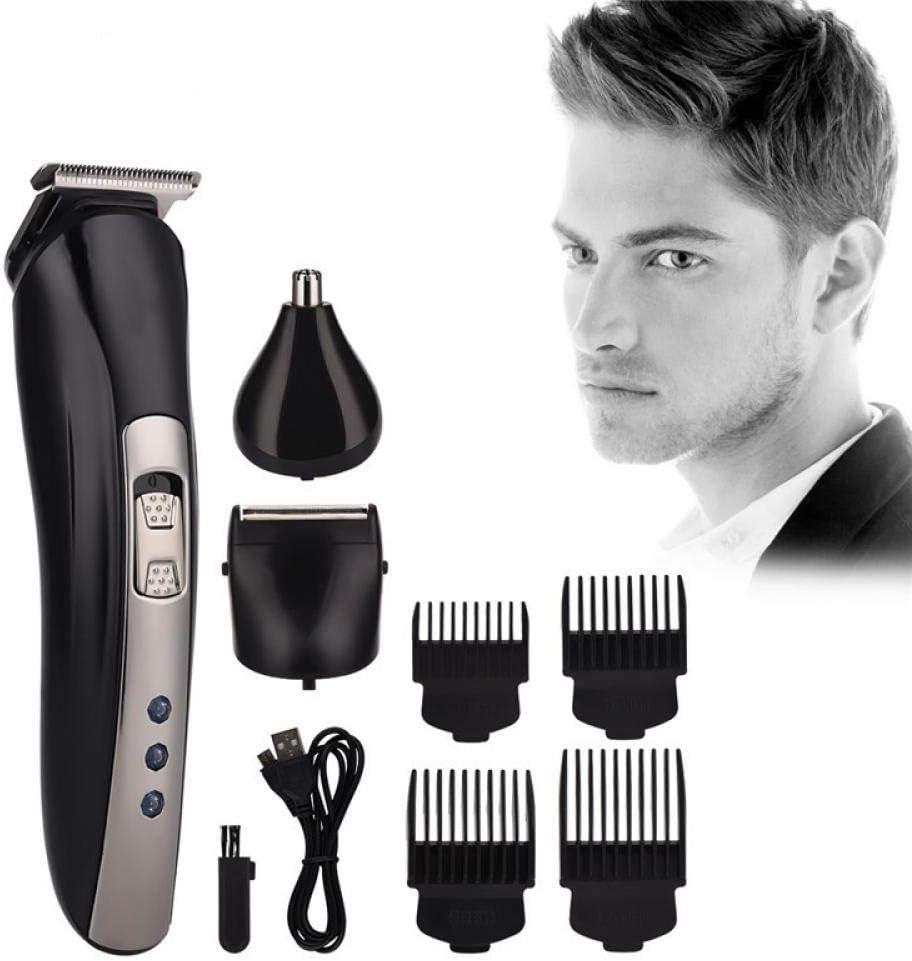 Juego de recortador de cabello profesional inalámbrico 3 en 1, cortapelos, kit de preparación de afeitadora de barba recargable, negro