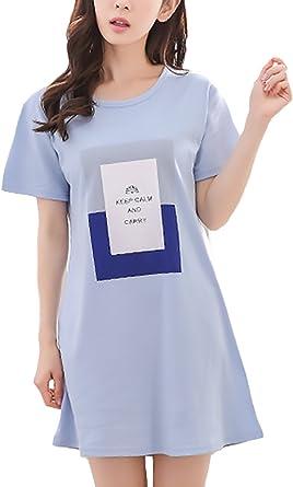 Pijamas Mujer Tallas Grandes Verano Manga Corta Cuello Redondo Ninas Ropa Elegante Vestido Pijama Patron Print Confort Homewear Anchas Casuales Camison Mujer Amazon Es Ropa Y Accesorios