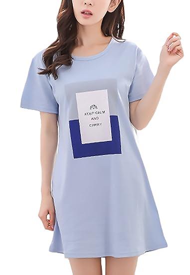 Pijamas Mujer Tallas Grandes Verano Manga Corta Cuello Redondo Elegante Vestido Pijama Patrón Print Ropa Sleepwear
