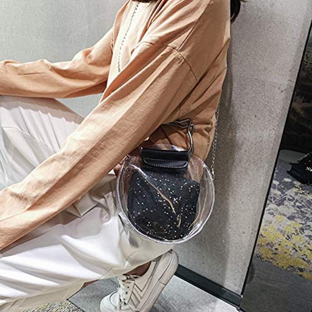 JTKDL Borsa a Tracolla Trasparente a Tracolla for Donna Borsa a Tracolla Approvata Borsa Trasparente Borsa a Tracolla Piccola Borsa a Tracolla con Forma Carina (Color : Gray) Black