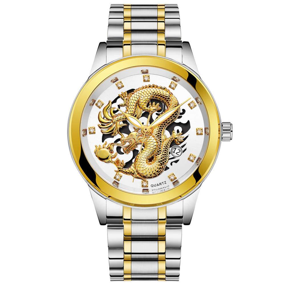 Clearance Sale! Gibobby Mens Watches,Classic Luxury Gold Dragon Sculpture Quartz Wristwatch Chronograph Minimalist Waterproof Leather Belt Analog Wrist Watches