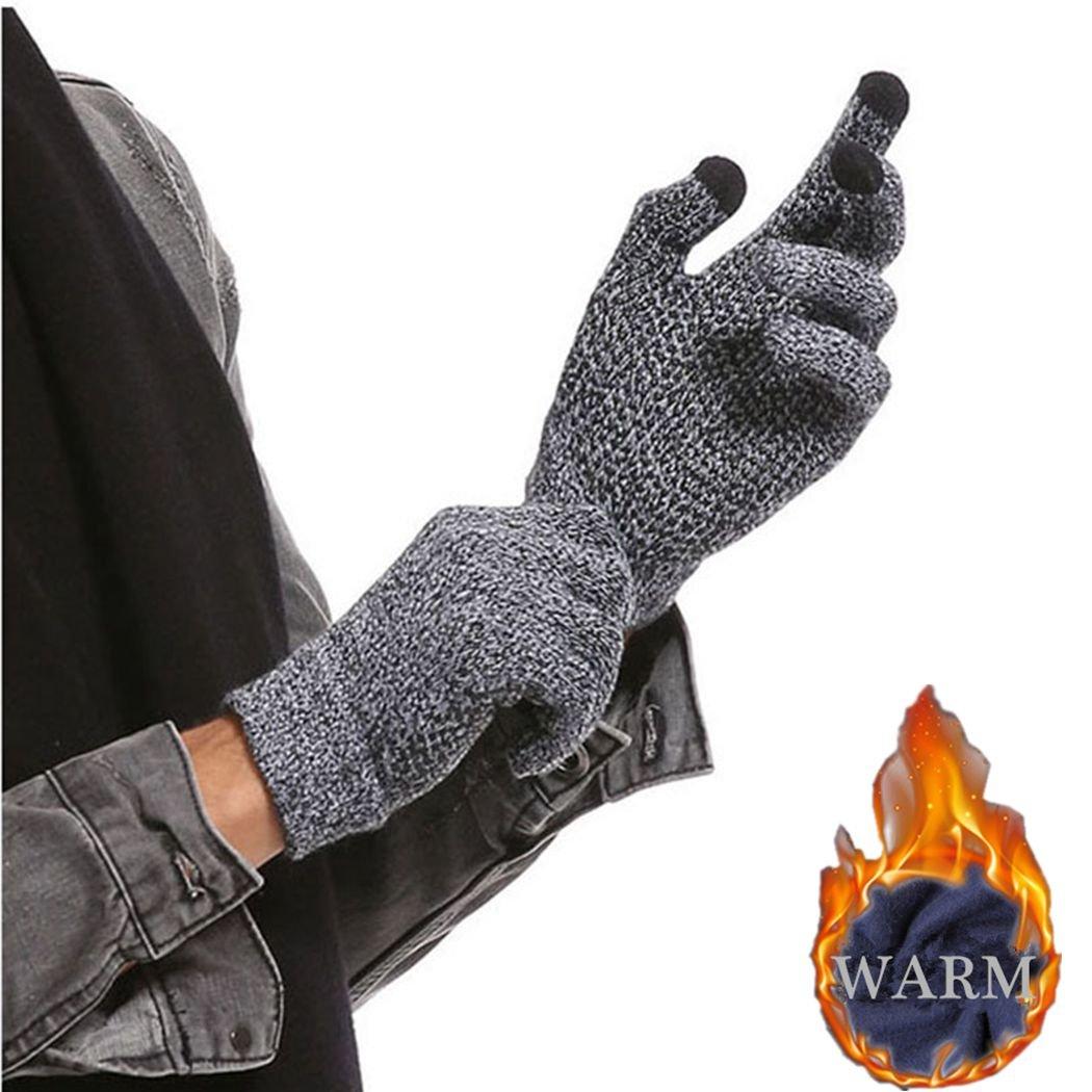 Winter Men Knitted Gloves Touched Screen Male Thicken Warm Wool Cashmere Unisex Gloves Mitten Business