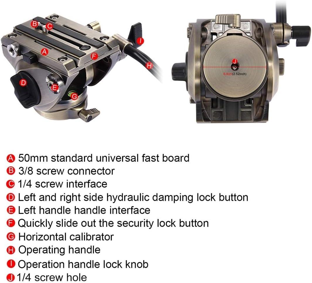 HUIFANGBU 3 in 1 Tripod + Bowl Adapter + Black Fluid Drag Head Adjustable Height: 62-152cm Color : Color2 Heavy Duty Video Camcorder Aluminum Alloy Tripod Mount Kit for DSLR//SLR Camera