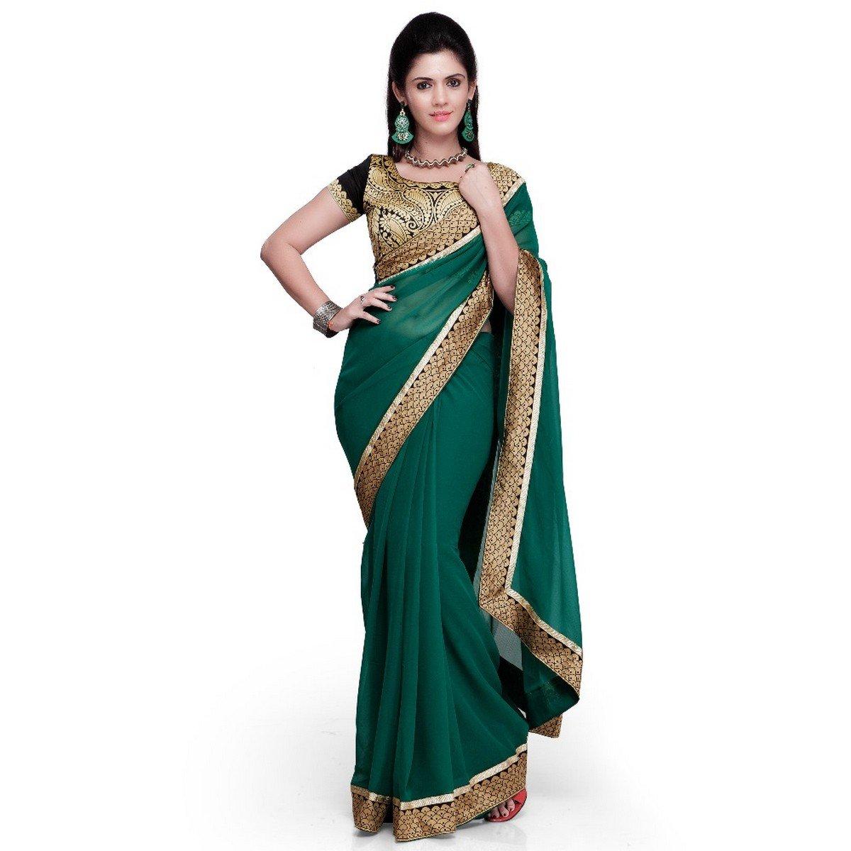 Janasya Women's Chiffon Saree Free Size Green