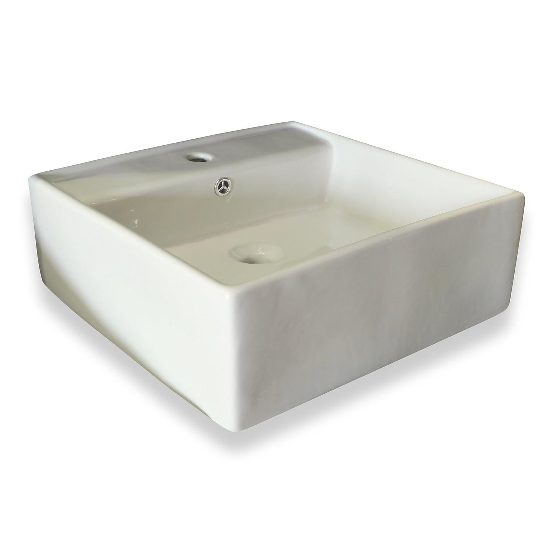 Cleaning overflow drain bathroom sink - White Square Ceramic Vessel Sink With Overflow Valve Vanity Sinks Amazon Com