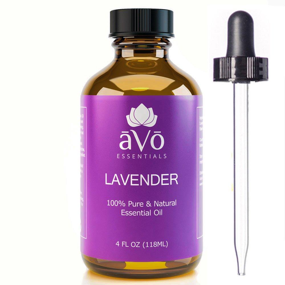 aVo Essentials Lavender Essential Oil, Therapeutic Grade for Aromatherapy with Glass Dropper, 4 oz