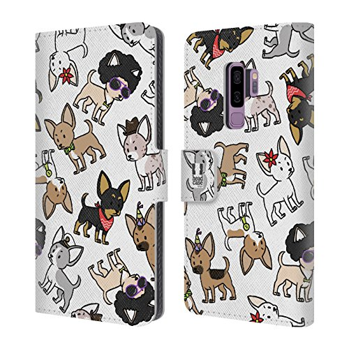 Head Case Designs Chihuahua Dog Breed Patterns Leather Book Wallet Case Cover for Samsung Galaxy S9+ / S9 Plus