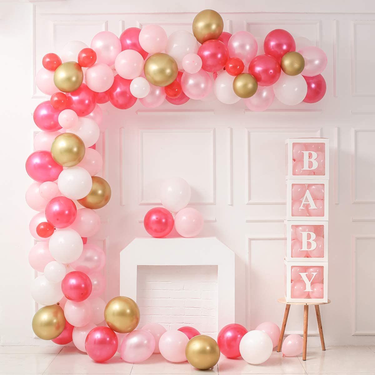 Balloon Arch Garland Kit+4 Individual Baby Letter Transparent Balloon Boxes for Baby Girl Shower Decoration, Include Rose Red Light Pink White Latex Balloons,Strip Tape,Balloon Pump, Dots