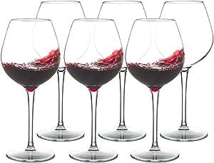 IDGIRLS Unbreakable Tritan Plastic Red Wine Glasses Dishwasher Safe Crystal Clear Goblet 17 oz Set of 6