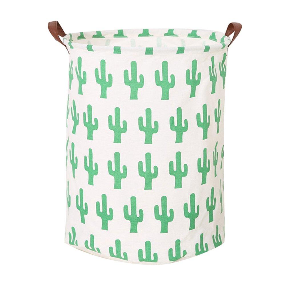 Dooxi Cactus Imprimé Cylindrique Panier à Linge Enfants Pliantes Organisateur de Jouets Stockage Imperméable Laundry Sac de Rangement avec Poignées Sundries Barrel