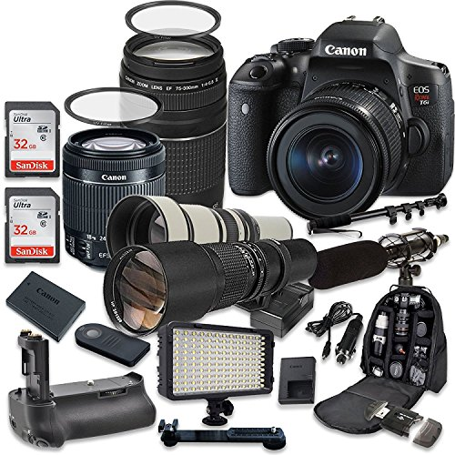Canon EOS Rebel T6i 24.2 MP Digital SLR Camera with Canon EF-S 18-55mm f/3.5-5.6 IS STM Lens + Canon EF 75-300mm f/4-5.6 III Lens + 500mm f/8 Telephoto Preset Lens + 650-1300mm f/8-16 Lens