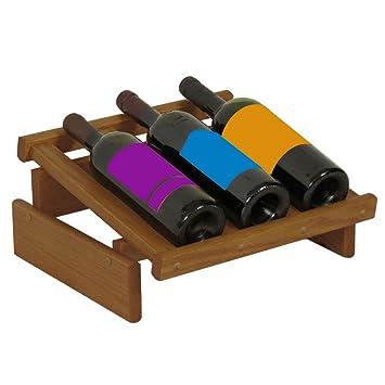 Amazoncom Wooden Mallet 3 Bottle Dakota Wine Display Rack Medium
