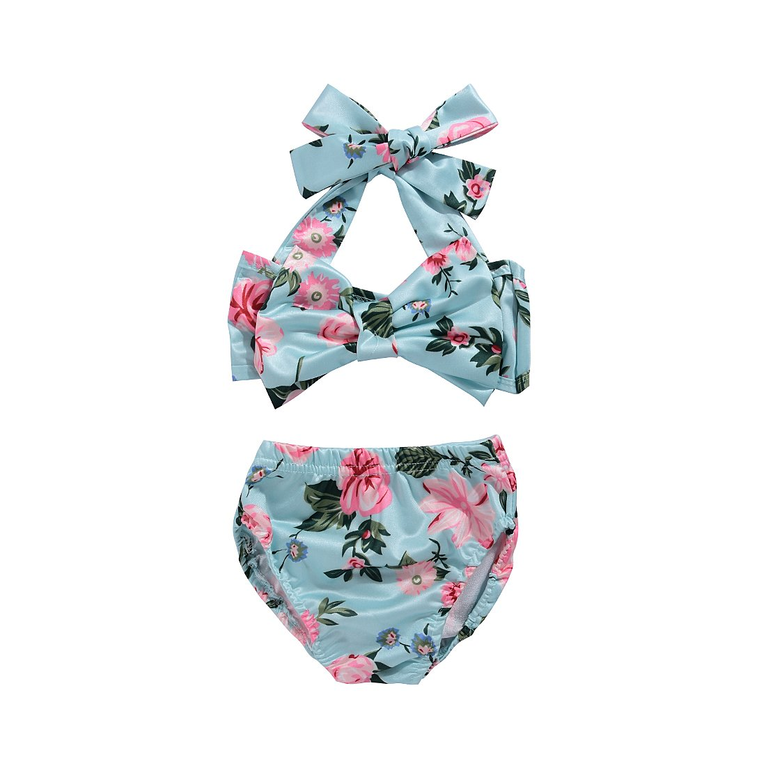 SWNONE 2Pcs Baby Girls Bikini Swimwear Halter Bowknot Top+Floral Short Bottoms Bathing Suit