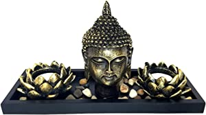 """Tabletop Zen Rock Garden with Buddha and Tea Light Candle Holder - (11""""x4.5""""x5"""")"""