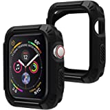 top4cus Scratch-Resistant Soft Flexible TPU 2 in 1 Lightweight Protective Protector Bumper Compatible Apple Watch Case 44mm 40mm iwatch Series 4 - Black, 40mm