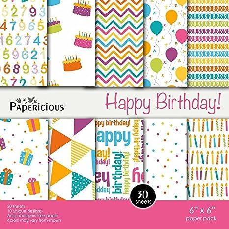 Craftsneed Papericious Designer Happy Birthday 6X6 Craft Paper Scrapbook Decorative