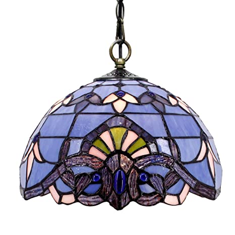 Tiffany Hanging Lamp Blue Purple Baroque 12 Inch Stained Glass Shade
