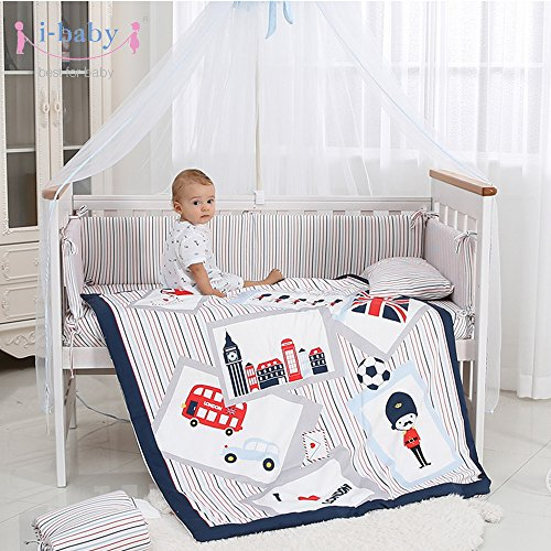 i-baby 9 Piece Nursery Crib Bedding Set for Newborn Baby Infant Crib Sheet Duvet Pillow Bumper Cot and 100% Cotton Printed Cover (British Time) from i-baby