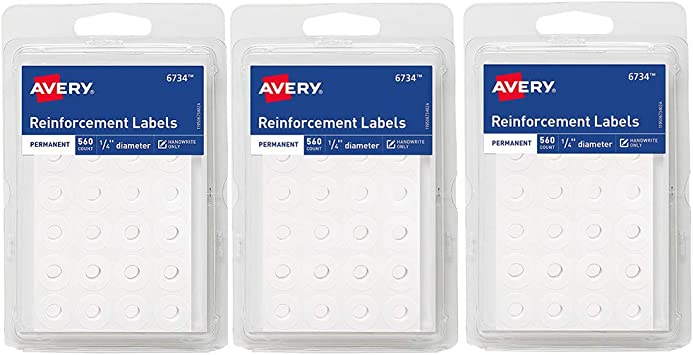 Amazon.com : Avery White Self-Adhesive Reinforcement Labels, 1/4 ...