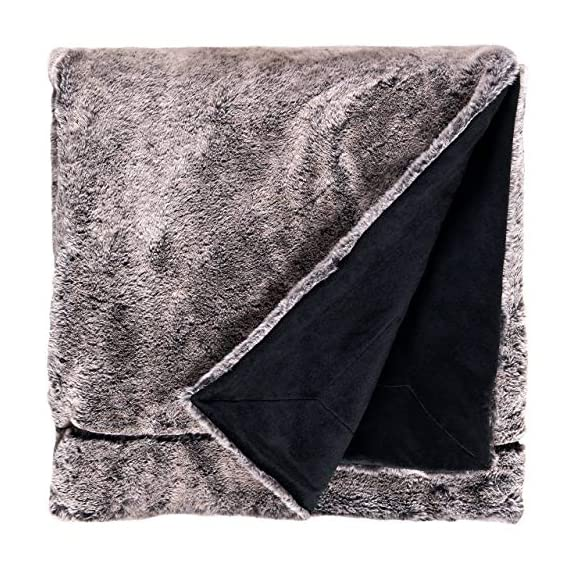 "Amazon Brand – Rivet Faux Fur Throw Blanket, Soft and Stylish, 80"" x 60"", Black - The contrasting textures of this throw make it a visually interesting piece for draping. One side is plush faux fur, while the other is a simple black. Whether used in a living space or a bedroom, it will add luxury to any style decor. 80""L x 60""W Dry clean or spot clean only; do not machine wash - blankets-throws, bedroom-sheets-comforters, bedroom - 61AeOF qYxL. SS570  -"