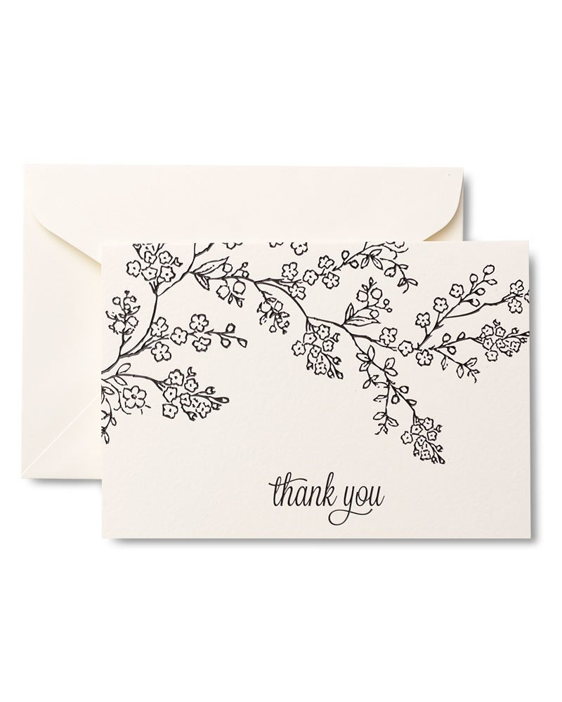 Black & White Floral Thank You Cards
