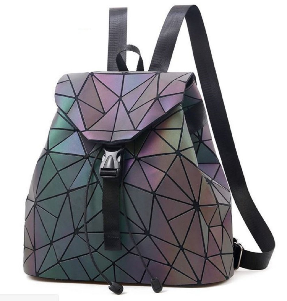 Shard Lattice Holographic Backpack Rainbow Reflective Satchel Travel Shoulder Bag [ Shard Lattice/Geometric Lattice ] (Shard Lattice)