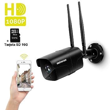 Cámara Vigilancia WiFi Exterior, SZSINOCAM Cámara de Vigilancia 1080P HD IP Camara Visión Nocturna de 30m, Detección de Movimiento, Alerta de Correo, ...
