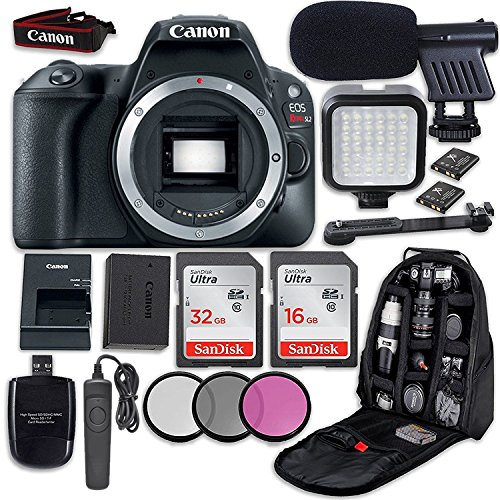 Canon EOS Rebel SL2 DSLR Camera (Body Only) + LED Light + Microphone + Video Accessory Bundle Review