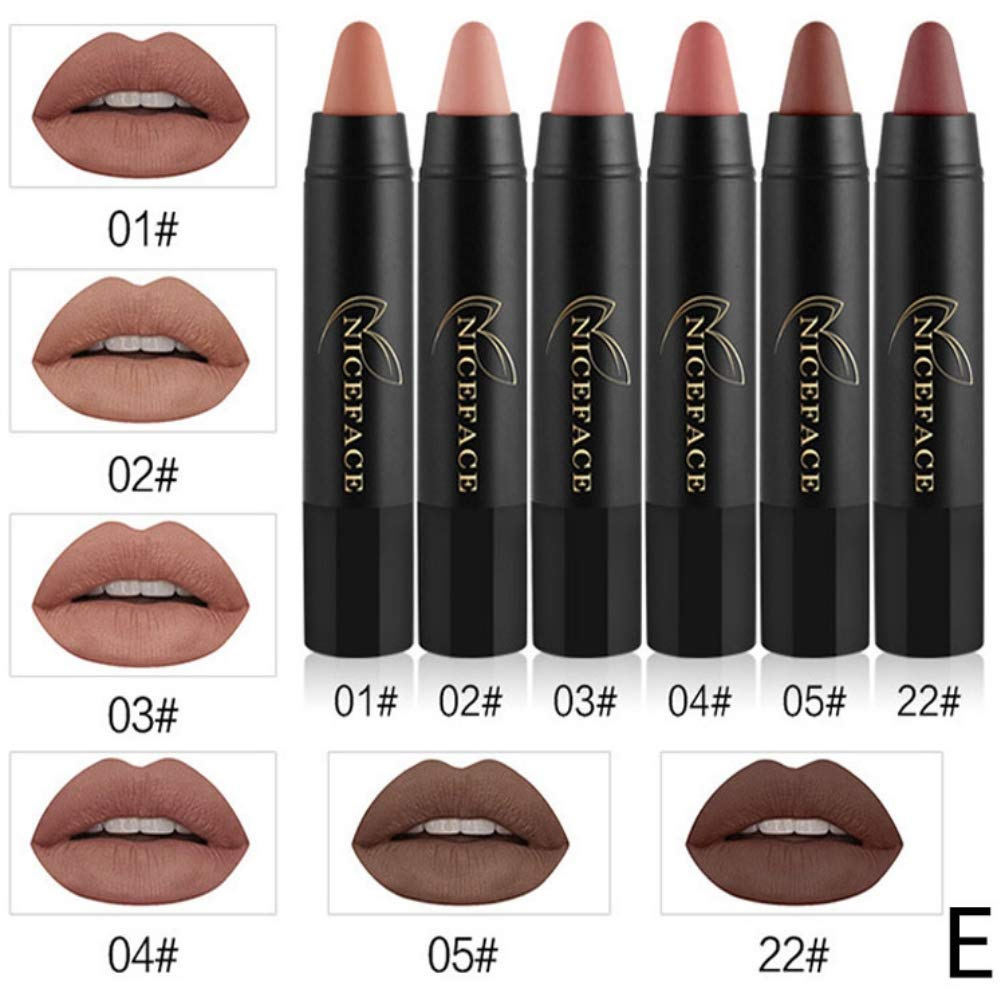 Tinkee Waterproof Long Lasting Pigments Red Velvet Matte Pencil Lip Lipstick 6 Color/set Kit Cosmetics (6 Color D)