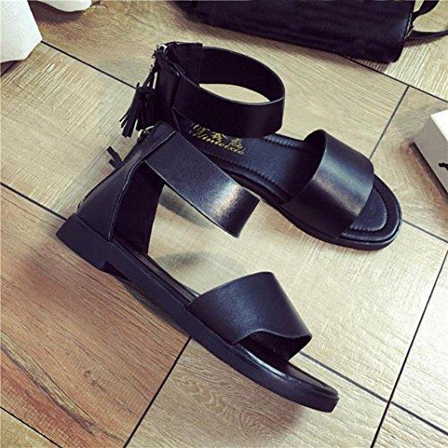Transer Ladies Tassel Decor Flat Sandals- Women Summer Roman Sandals Comfortable Slippers Shoes Casual Black hhwjTIa