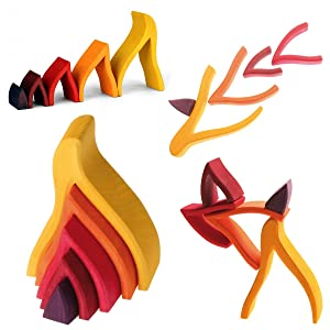 """Grimm's Small Flames Nesting Wooden Blocks Stacker, """"Elements"""" of Nature: FIRE"""