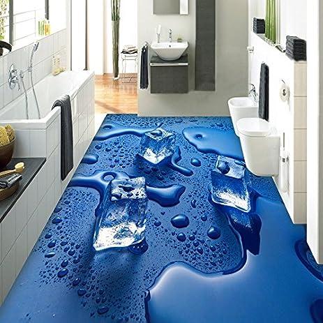 Lqwx Custom Photo Floor Wallpaper 3D Stereoscopic Ice Cubes Water Drops Waterproof Living Room Bathroom