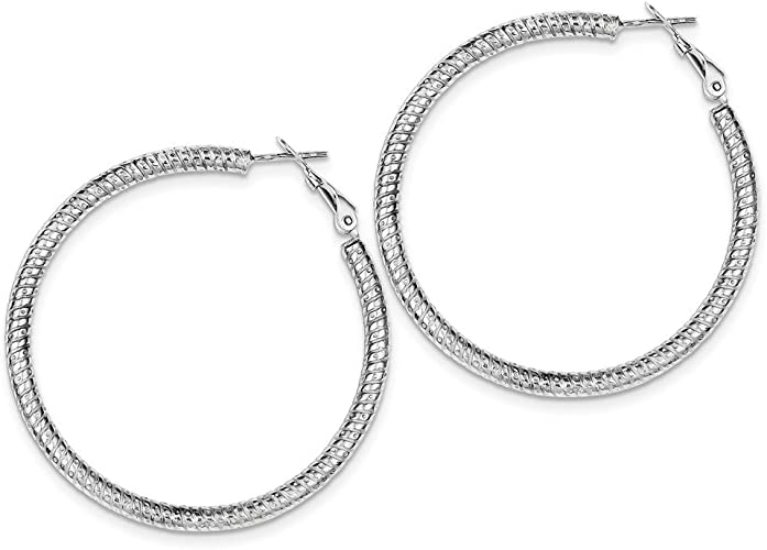 925 Sterling Silver Rhodium Plated Hinged Earrings