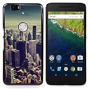 """For Huawei Google Nexus 6P Case , Viñeta horizonte de la ciudad de Nueva York Azul"""" - Diseño Patrón Teléfono Caso Cubierta Case Bumper Duro Protección Case Cover Funda"""