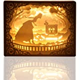 Papercut Light Boxes ( Princess and Frog ), 3D LED Shadow Box Lamp with Remote Control Dimmable, Baby Nursery Kids Bedroom Living Room.