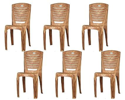 Nilkamal Plastic Armless Chairs Pearl Wood 56x Set Of 6 Amazon