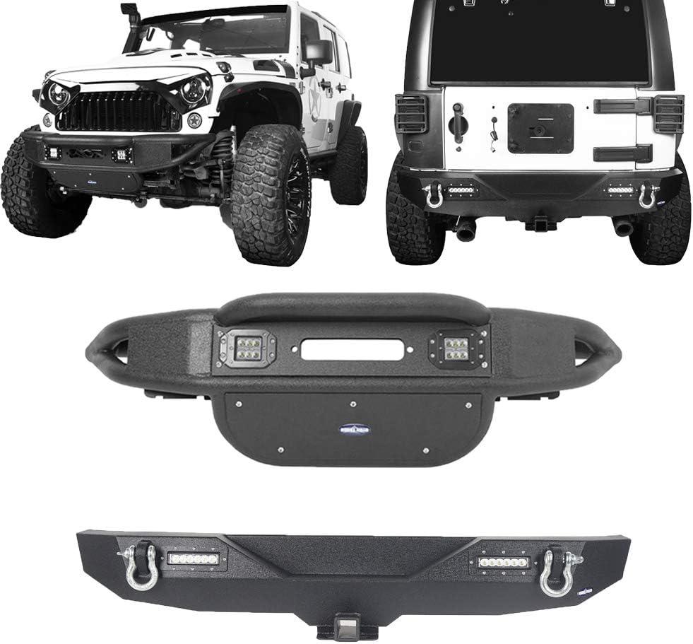 Hooke Road Tubular Front bumper w// LED Lights for 07-18 Jeep Wrangler JK