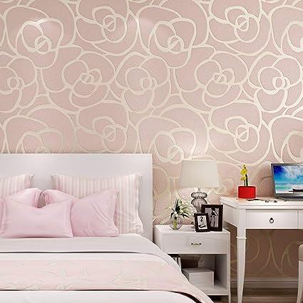 Papier peint chambre à coucher branches rayures peau de daim ...