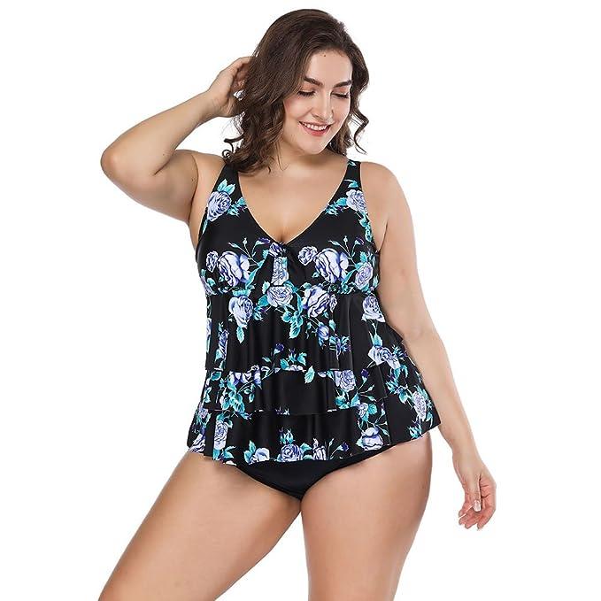 18cd355ef FeelinGirl Conjunto de Bikini Falda Dos Piezas Talla Grande para Mujer   Amazon.es  Ropa y accesorios