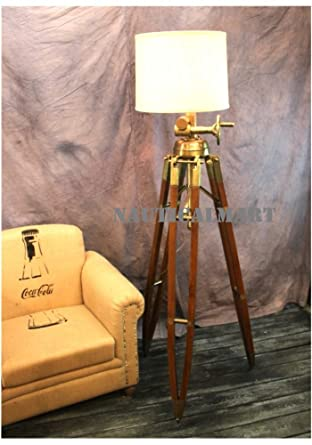 Royal Marine Lamp Huge Tripod Floor Lamp Antique Brass With Wooden