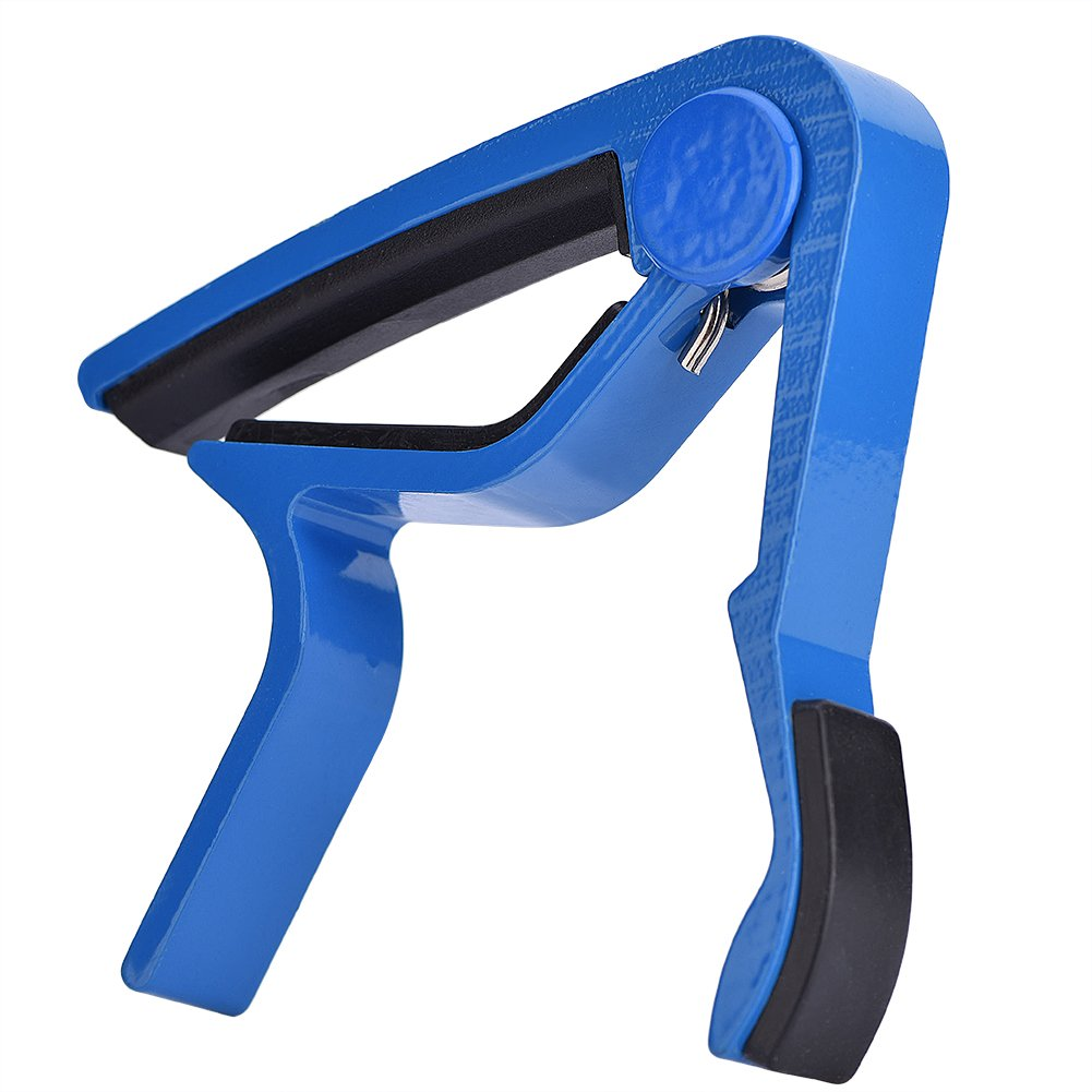 Zerone Portable Clip-On Quick Change Folk Capo Guitar Tuner Clamp Handheld for Instrument (Blue)