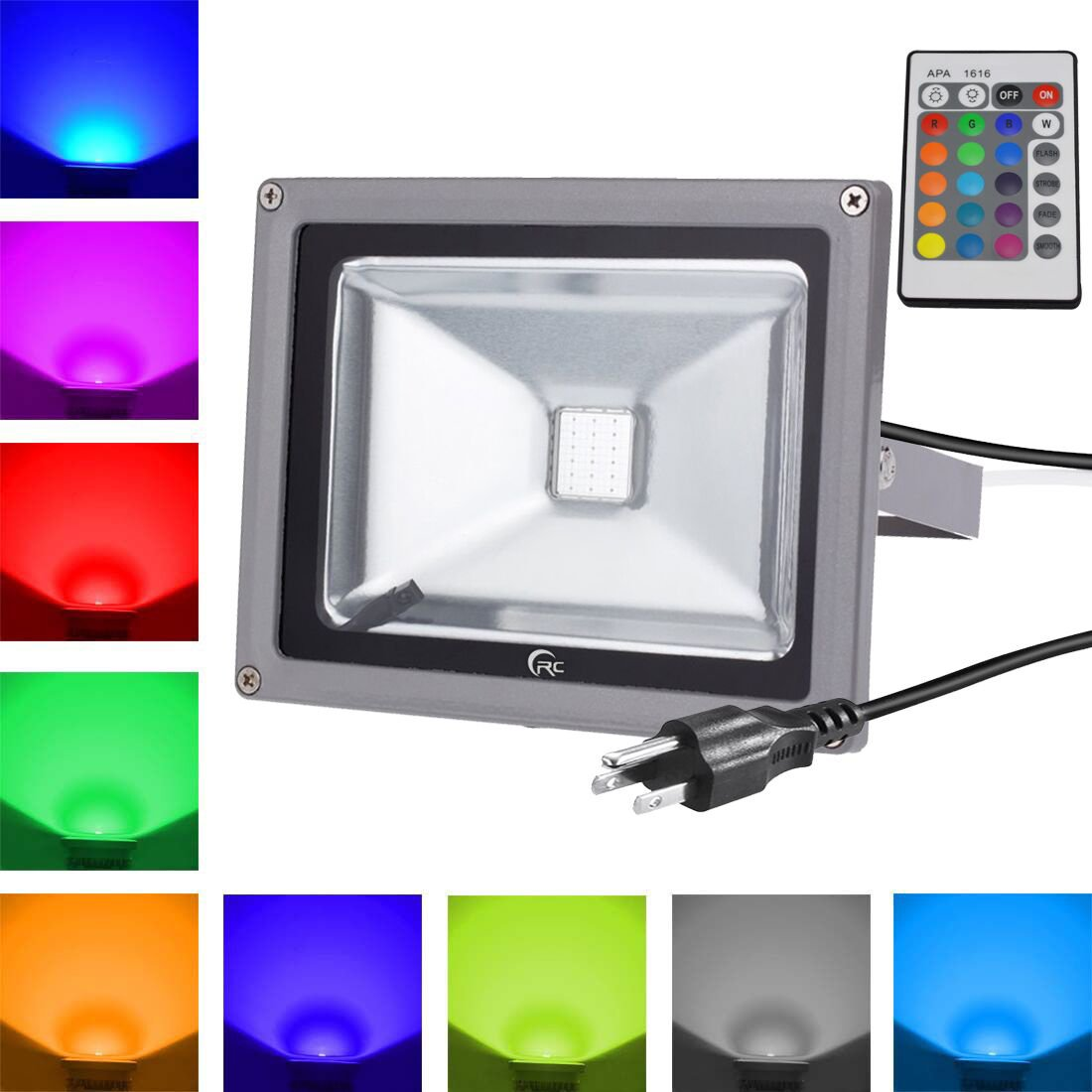 RC 20W Waterproof RGB LED Flood Light with 24Key IR Remote and US 3-Plug