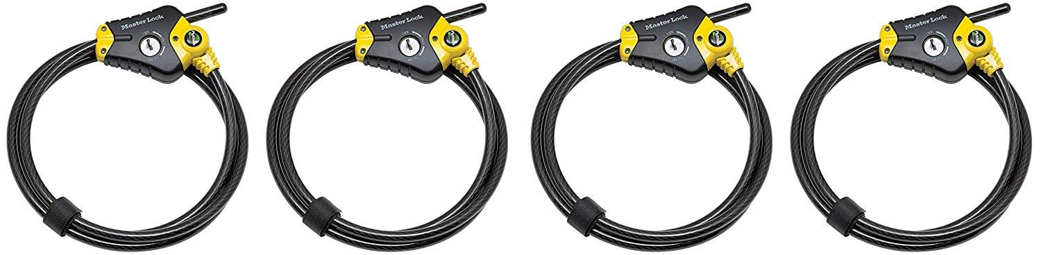 Master Lock Cable Lock, Python Adjustable Keyed Cable Lock, 6 ft. Long, 8413DPF (Pack of 4) by Master Lock