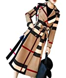 Abeaicoc Women's Vintage Plaid Single Breasted Wool Blend Pea Trench Coat