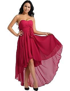 93817f59d16 IEFIEL Irégulière Femme Robe Demoiselle d honneur sans Manches Élégante Robe  De Soirée Bal Femme