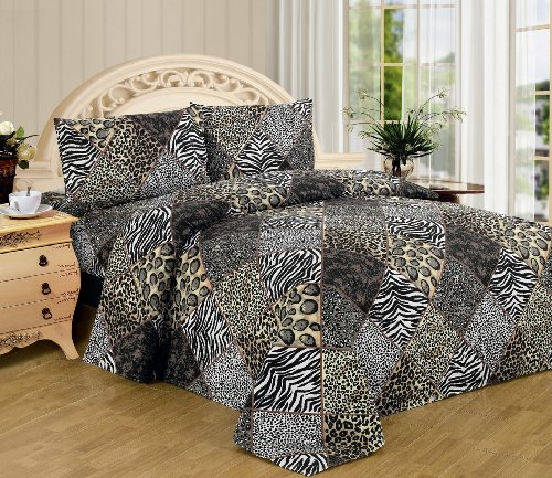 Black White Leopard Zebra King Size Sheet Set 4 Pc Safari Animal Print Pillow Shams Bedding