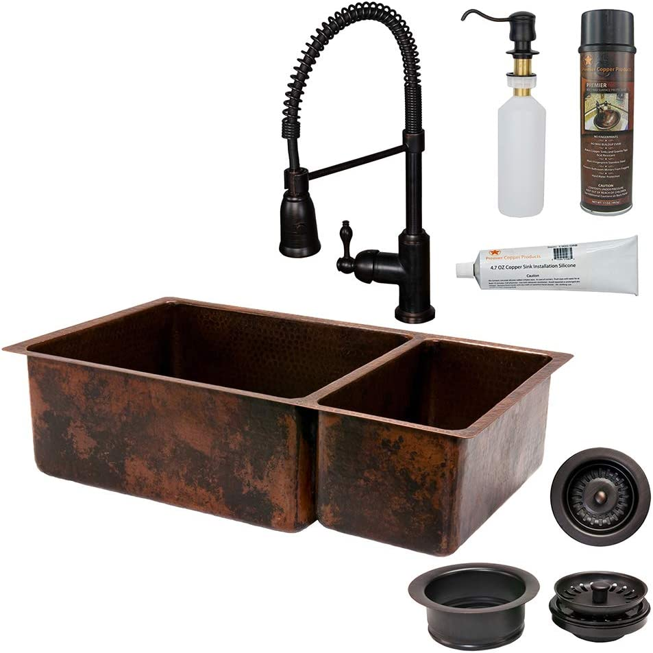 premier copper products ksp4 k75db33199 33 inch kitchen sink spring faucet and accessories package