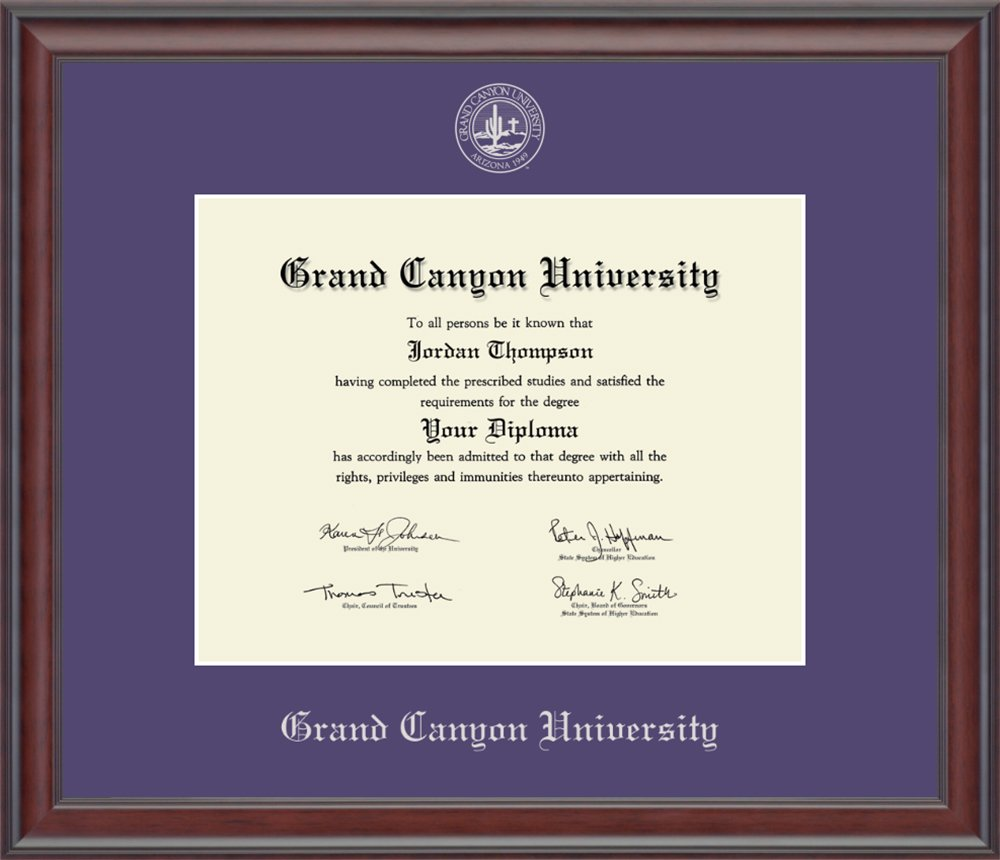 """Grand Canyon University Silver Embossed Diploma Frame – Solid Hardwood """"Studio"""" Moulding, Officially Licensed – By Church Hill Classics (Diploma Size 8.5''h x 11''w) by Church Hill Classics"""