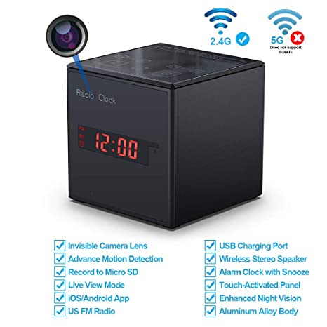 Hidden Camera WiFi Alarm Clock Radio,FUVISION Wireless Speaker Spy Camera with Motion Detect,FM Radio,Night Vision,USB Charging Port,Touch-Activated ...